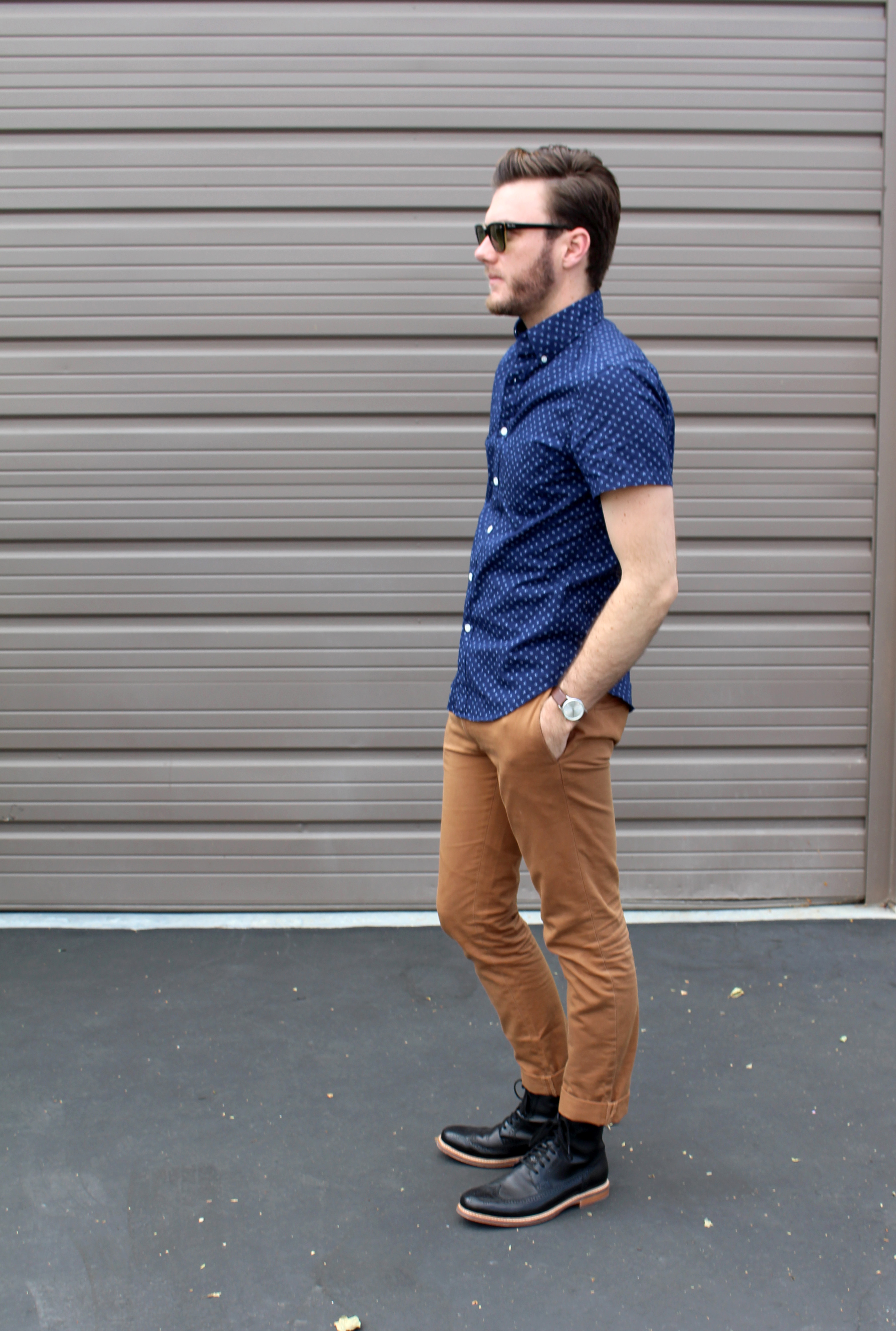 Black Boots Blue Printed Shirt 2