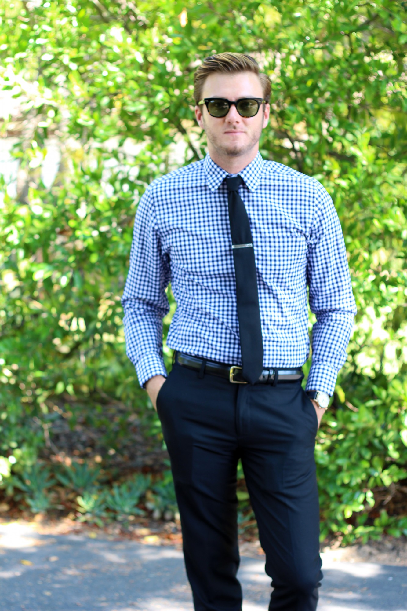 Gingham shirt and Tie 1