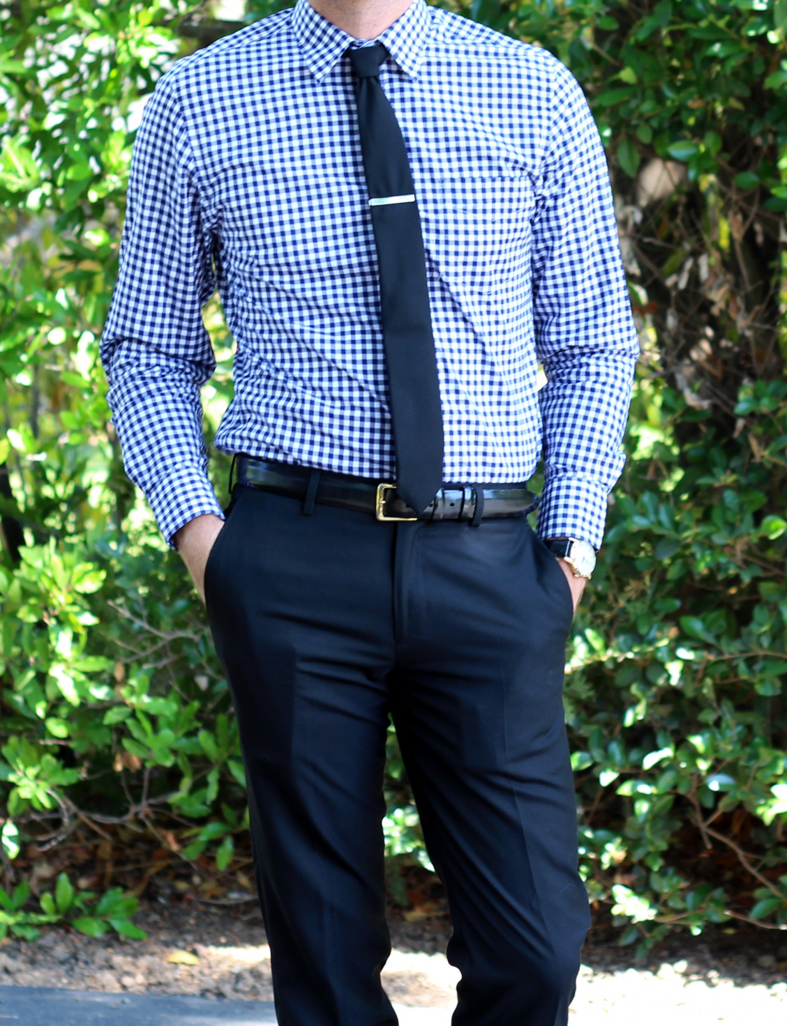 Gingham shirt and Tie 4