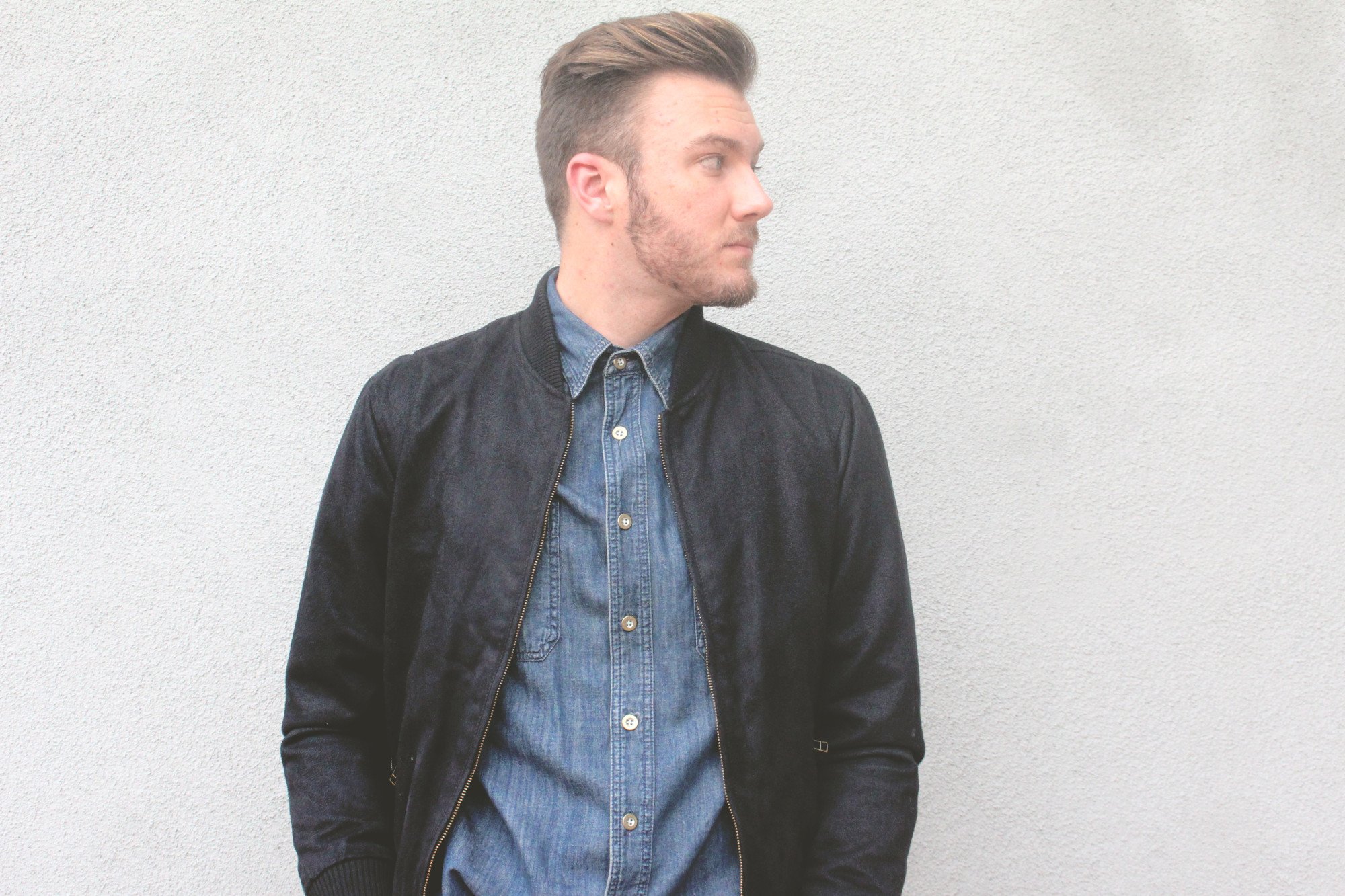 Chambray and Suede Bomber 4