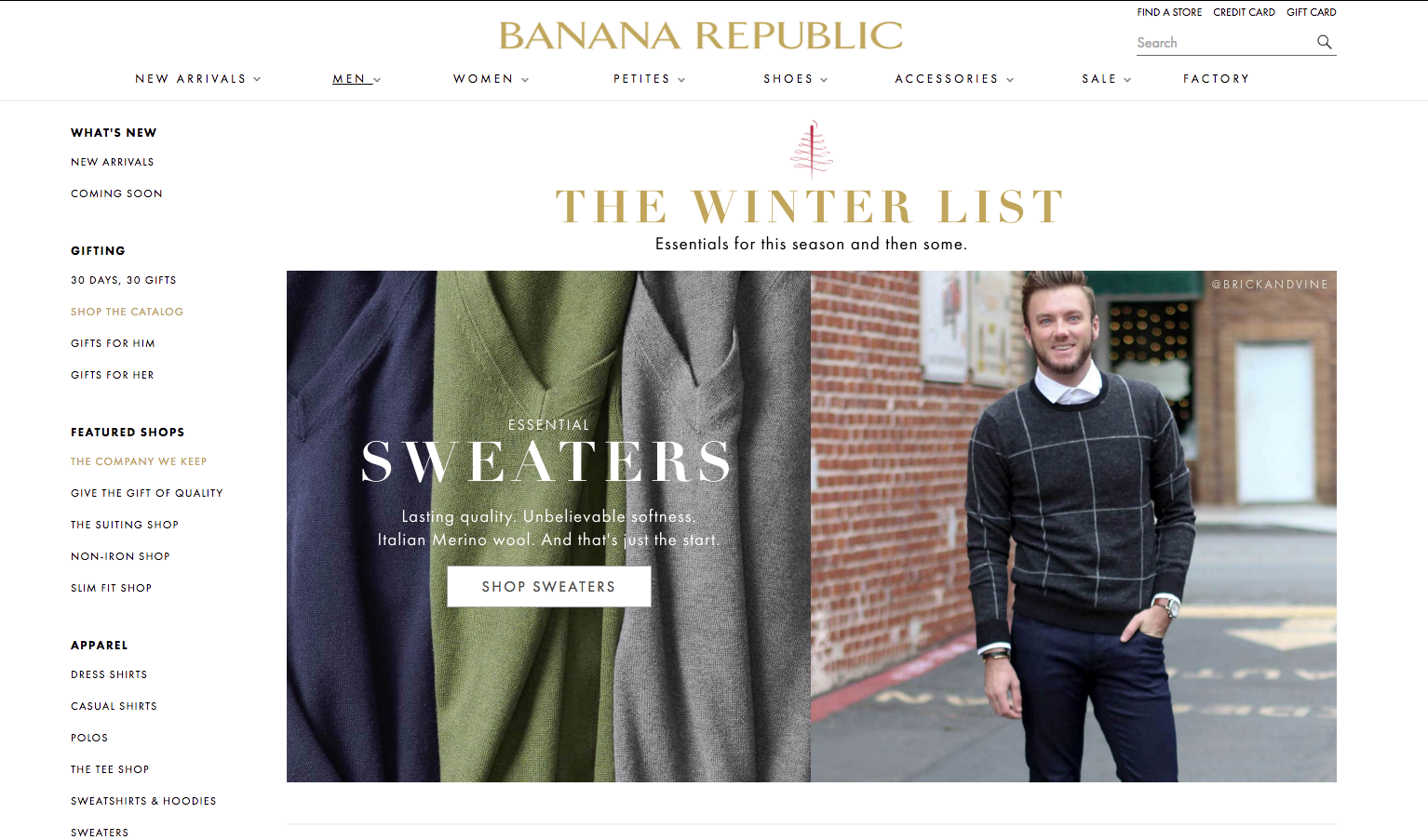 Brick and Vine on Banana Republic